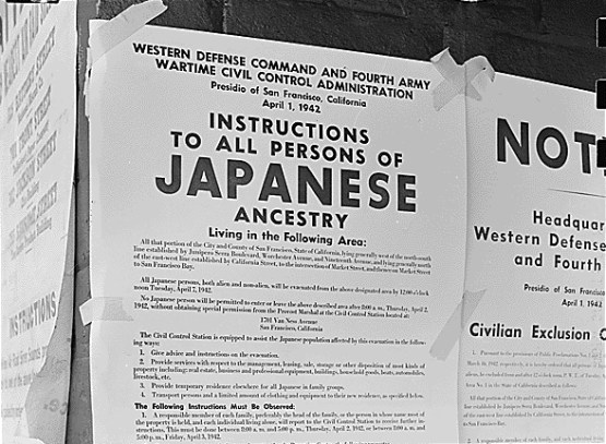 Japanese American internment notice (1 April 1942). US National Archives and Records Administration. Source: Wikimedia Commons