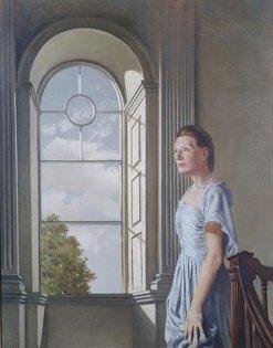 Portrait of Elizabeth Bowen at Bowenscourt c.1955, oil on canvas, by Patrick Hennessy