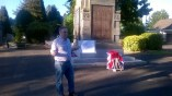 2015 10th June. Gordon Cook presents a wealth of Blantyre history at the Cenotaph.