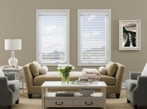 Simple yet elegant white wood blinds