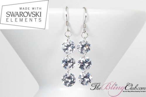 THEBLINGCLUB swarovski crystal 3 drop earrings