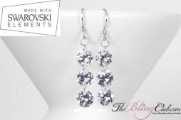 THEBLINGCLUB swarovski crystal 3 drop earrings