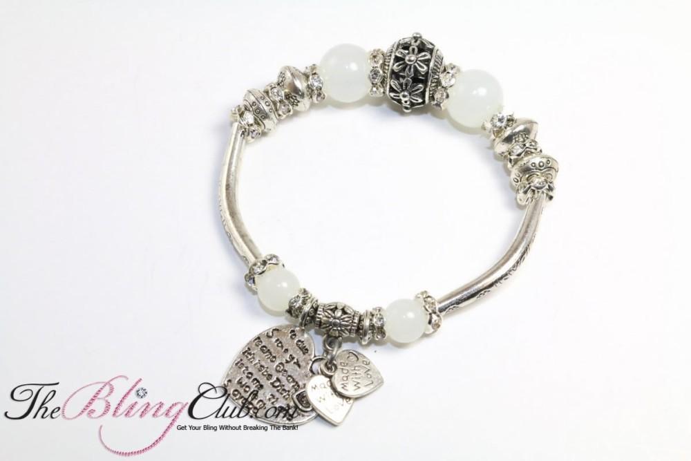 bling white stretch pandora charm heart bracelet