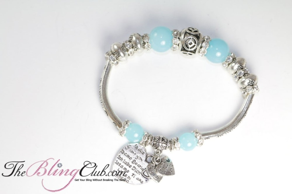 heart pandora Stretch heart Bling charm bracelet