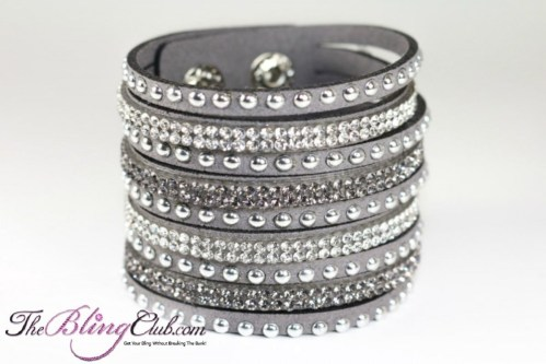 the bling club best seller grey vegan leather swarovski cuff crystals and studs