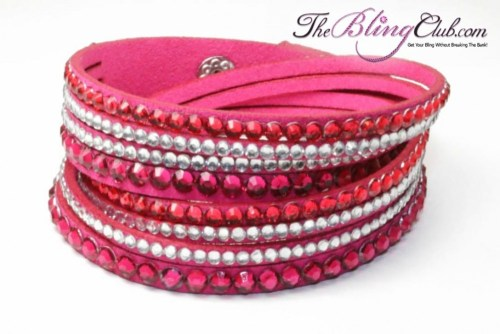 the bling club hot pink vegan leather swarovski crystals wrap bracelet