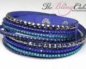 theblingclub.com blue swarovski multi crystal with turqoise vegan leather wrap bracelet