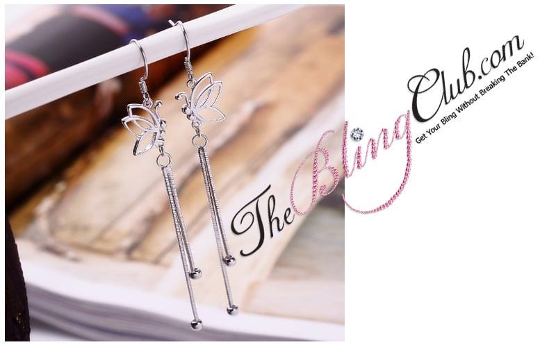 sterling silver platinum butterfly bling dangle earrings