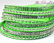 the bling club lime green swarovski crystal veagn leather wrap bracelet crystals and silver studs