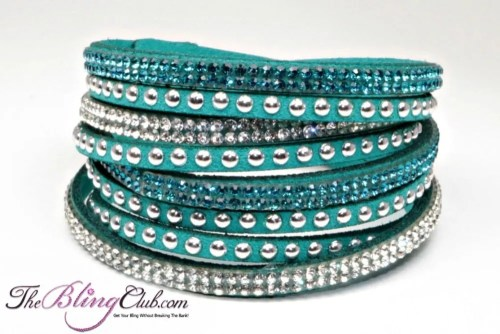 the bling club teal vegan leather crustal swarovski wrap bracelet crystals and studs