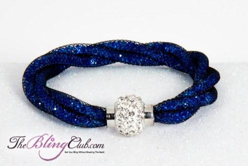 theblingclub.com stardust blue crystal black mesh crystal clasp magnetic bracelet