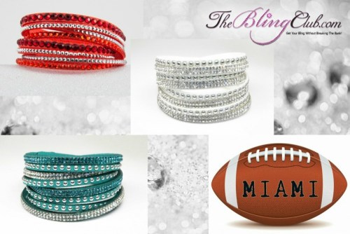 The Bling Club Miami NFL Football Vegan Leather swarovski Crystal Wrap Bracelet Trio