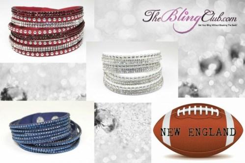 The Bling Club New England patriots NFL Football Vegan Leather swarovski Crystal Wrap Bracelet Trio