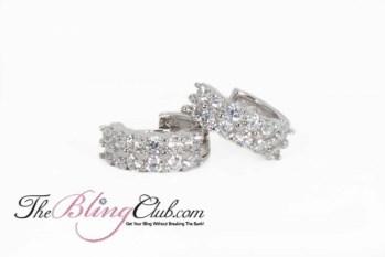 the bling club sterling silver platinum huggie crystal earrings
