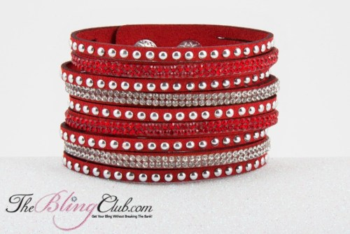 theblingclub rich ruby red vegan leather cuff bracelet crystals and studs