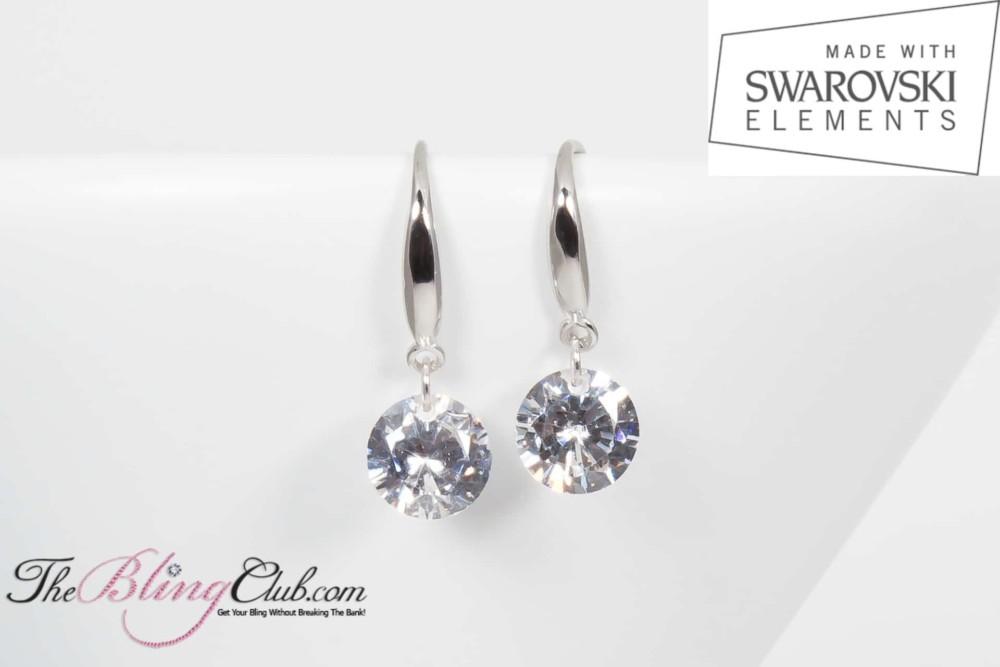 Single sparkle drop earrings