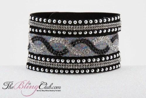 theblingclub.com vegan leather black cuff bracelet high fashion front
