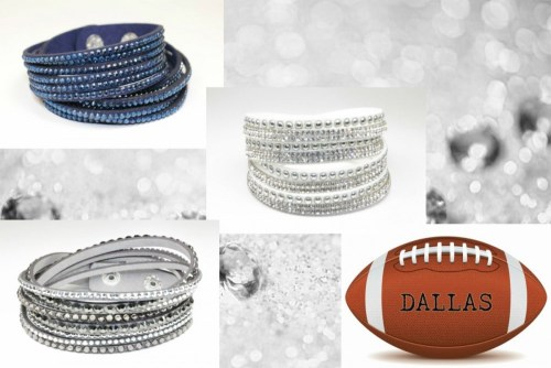 The Bling Club dallas cowboys NFL Football Vegan Leather swarovski Crystal Wrap Bracelet Trio