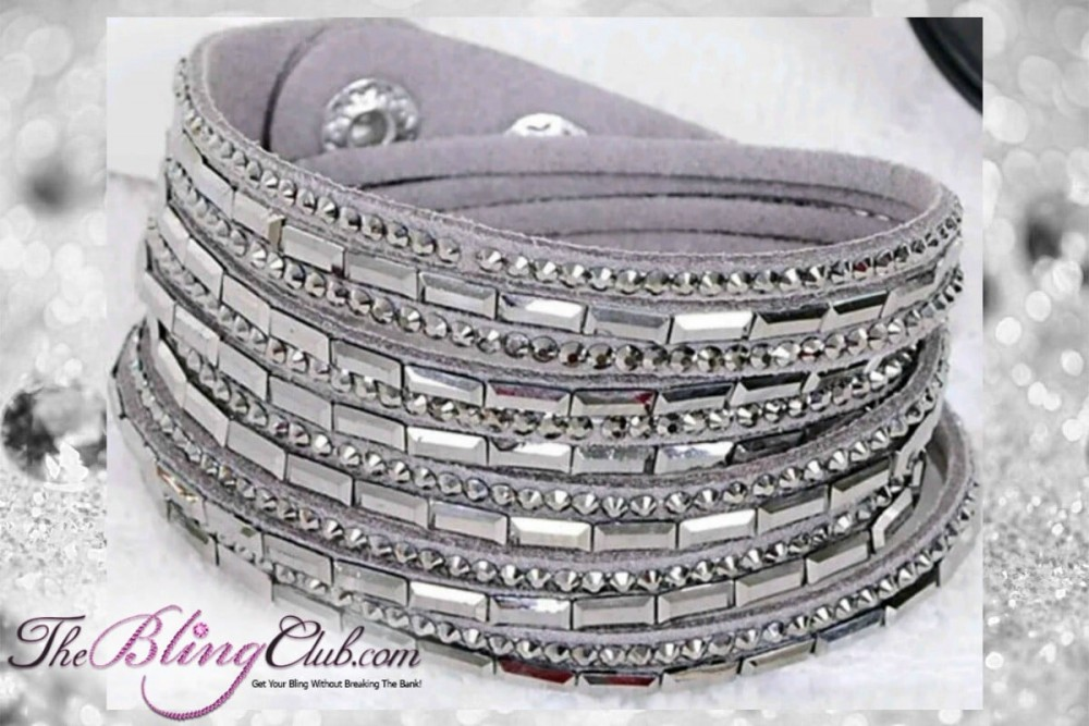 theblingclub.com super bling grey crystal vegan leather swarovski wrap bracelet