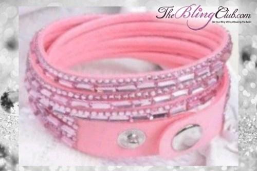 theblingclub.com super bling light pink crystal vegan leather swarovski wrap bracelet