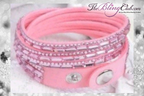 theblingclub.com super bling light pink crystal vegan leather swarovski wrap bracelet