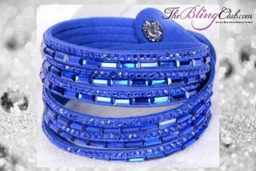 theblingclub.com super bling royal blue crystal vegan leather swarovski wrap bracelet