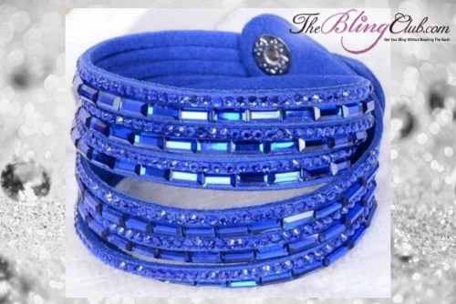 theblingclub.com super bling royal blue crystal vegan leather swarovski wrap bracelet