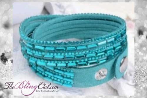 theblingclub.com super bling turquoise crystal vegan leather swarovski wrap bracelet