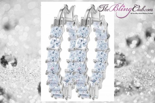 THEBLINGCLUB swarovski crystal inside outside clear silver platinum hoop earrings