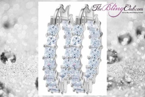 THEBLINGCLUB swarovski crystal inside outside clear silver platinum hoop earrings
