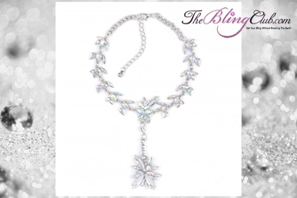 theblingclub.com iridescent ab crystal swarovski antique vintage flower drop starburst convertible necklace