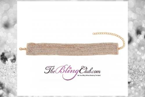 the bling club 15 row crystal bling rhinestone choker necklace gold main pic