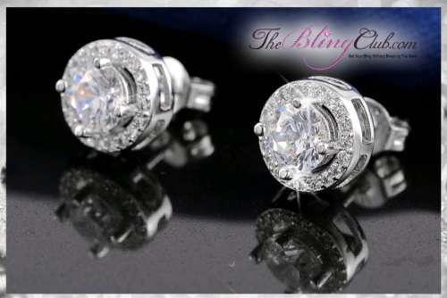 the bling club platinum plated cystal round circle stud classic earrings side view
