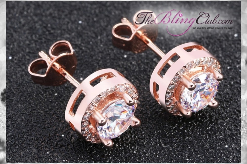 the bling club rose gold plated cystal round circle stud earrings side view