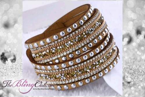 theblingclub.com rockstud tan crystal wrap bracelet choker
