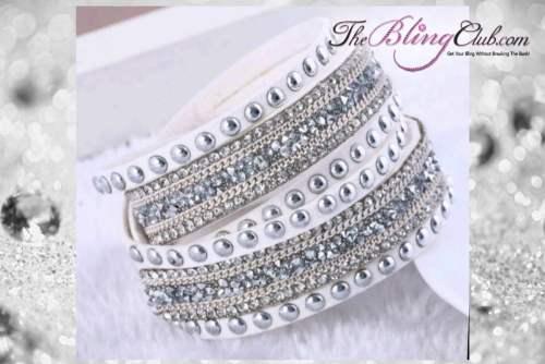theblingclub.com rockstud white crystal wrap bracelet choker