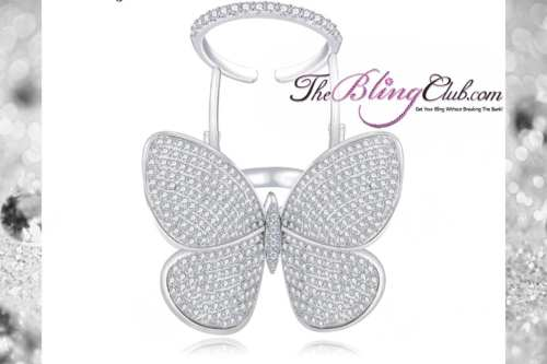 theblingclub.com moving butterfly hinge ring silver pave platinum crystals