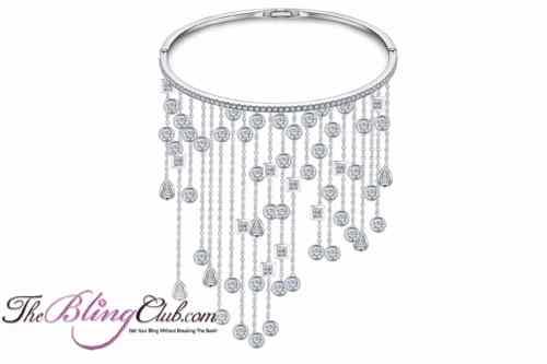 theblingclub.com platinum bangle with dangling swarovski crystals