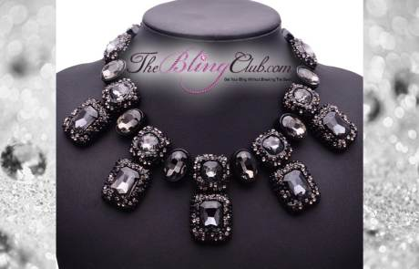 theblingclub.com black crystal luxe bling gem statement necklace