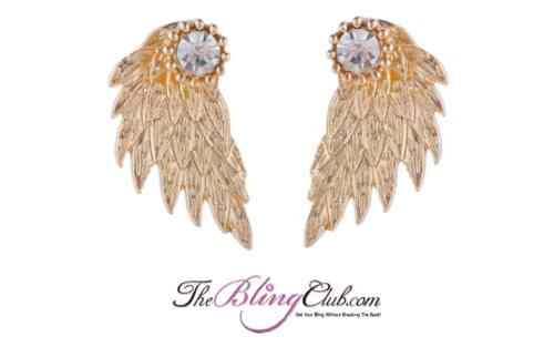 the bling club gold angel wing back stud earrings