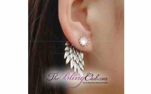 theblingclub.com silver wing back drop earring on model