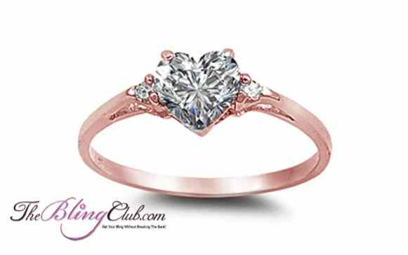 the bling club sterling silver rose gold heart ring swarovski crystals