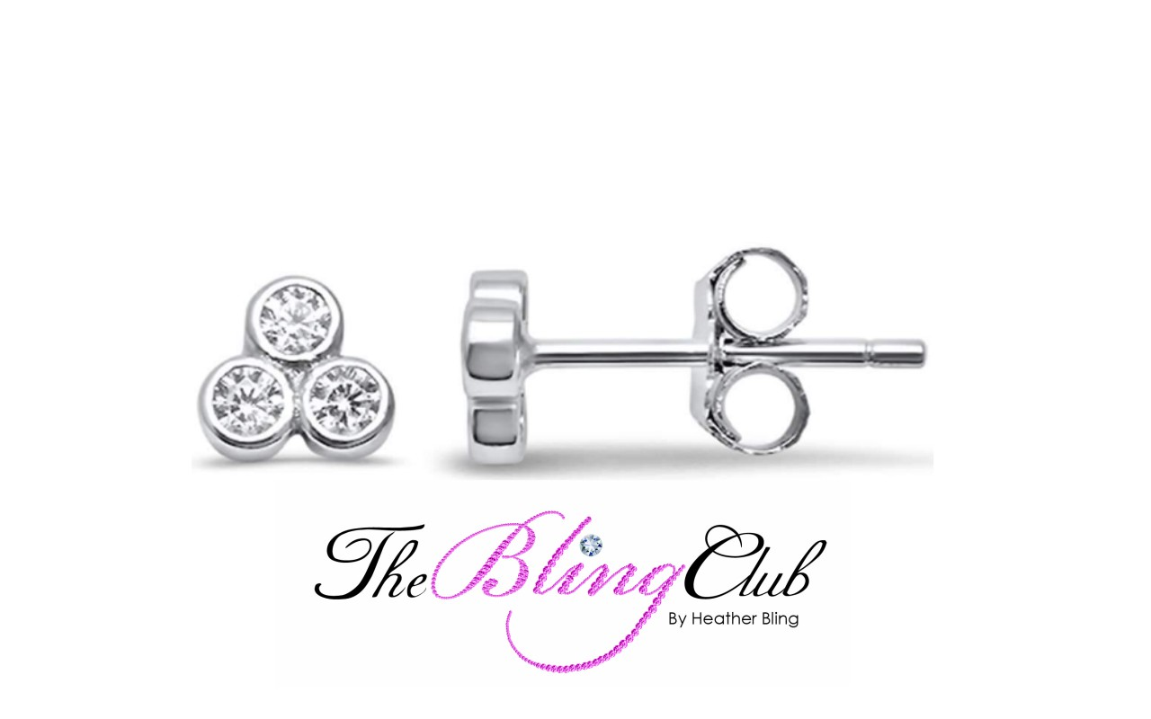 the bling club sterling silver 3 crystal flower stud earrings