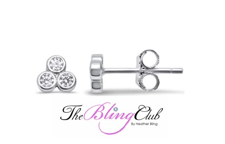 the bling club sterling silver 3 crystal flower stud earrings