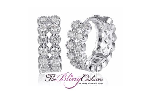the bling club rhodium plated crystal huggie earrings