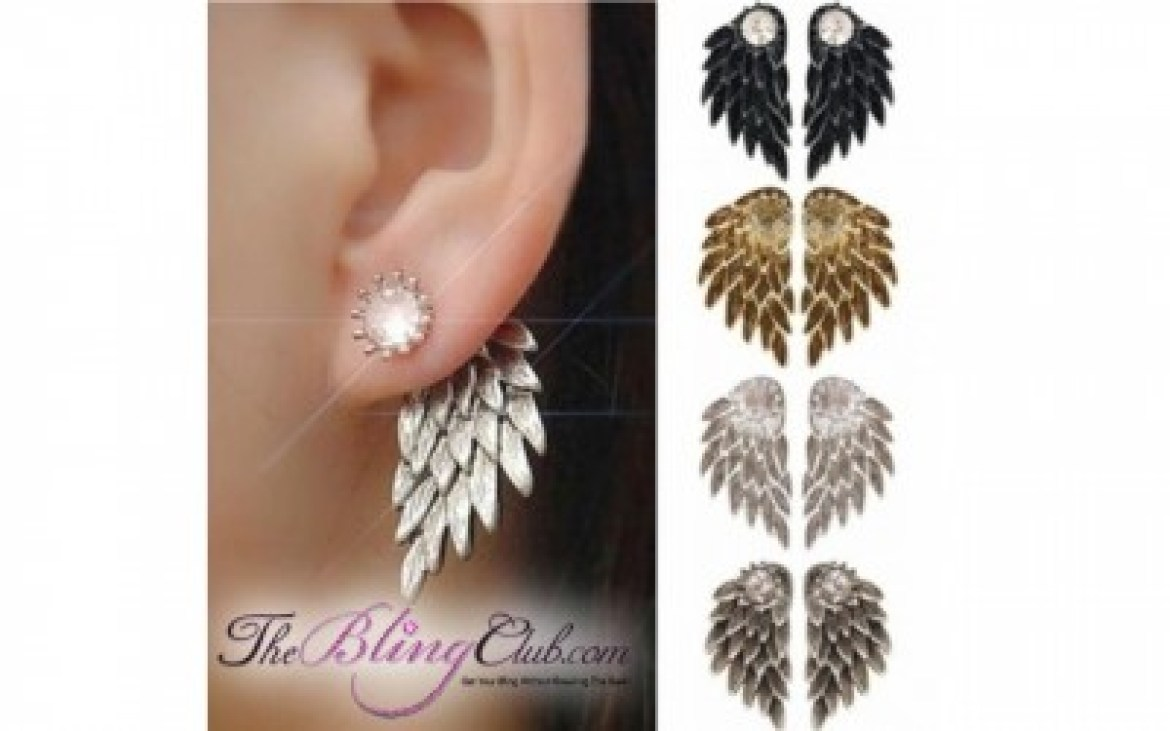 the bling club all colors angel wing stud crystal earrings