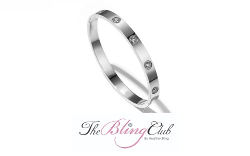 the bling club cartier love silver stainless steel invisible close crystal bangle