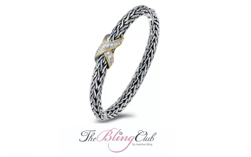 the bling club gold silver detailed david yurman inspired crystal hinged cross x bangle