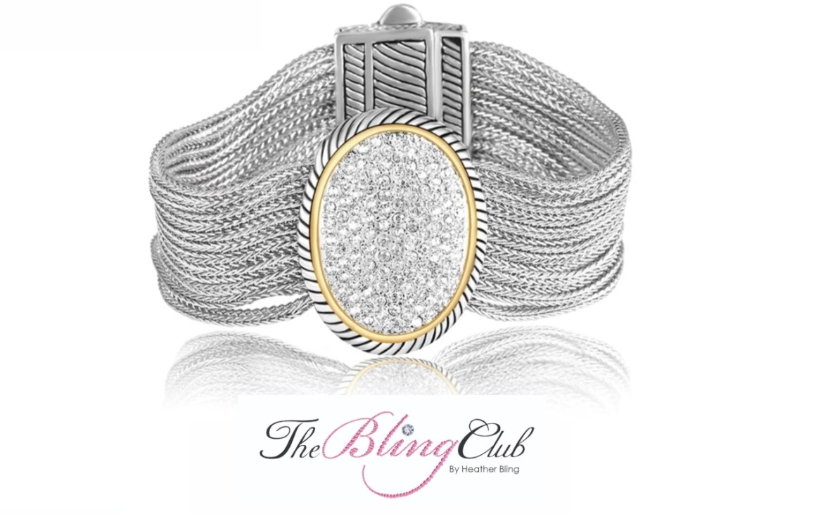 the bling club gold silver detailed david yurman inspired oval crystal magnetic cuff bracelet