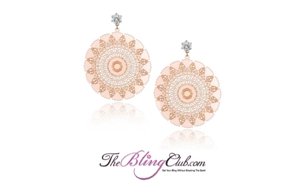 the bling club titanium rose gold bling sundial mandala earrings